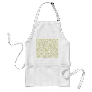 Gold fancy floral damask adult apron