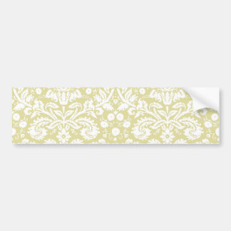 Gold fancy floral damask bumper sticker