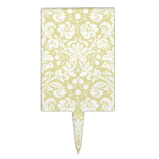 Gold fancy floral damask cake toppers