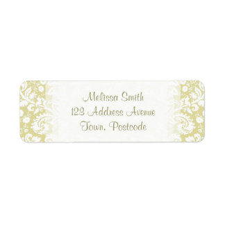 Gold fancy floral damask label