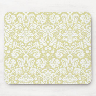 Gold fancy floral damask mouse pads