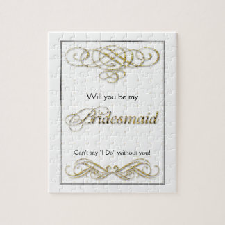 Gold Fancy Scroll Bridesmaid Keepsake Jigsaw Puzzle