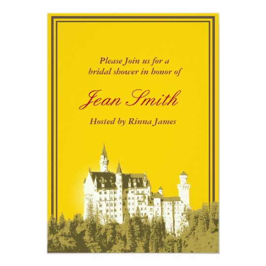 Gold Fantasy White Castle Bridal Shower Invitation