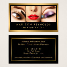 Gold Fashion Makeup Artist Photo Showcase Business Card at Zazzle