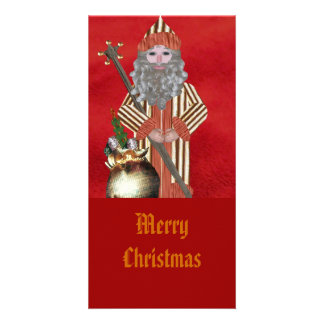 Gold Father Christmas Personalized Photo Card