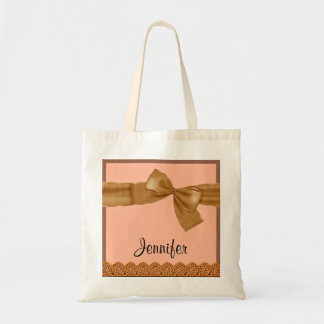 Gold Faux Bow and Lace Custom Name JENNIFER Canvas Bags