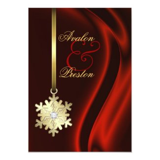 """Gold Faux Diamond Snowflake Red Silk Invitation 5"""" X 7"""" Invitation Card"""