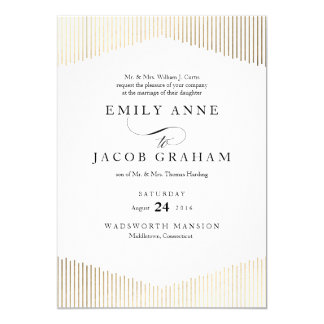 Gold Faux Foil Angles Art Deco Wedding Invitation