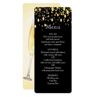 Gold, Faux Foil Bubbles, Stylish, Custom Menu Card