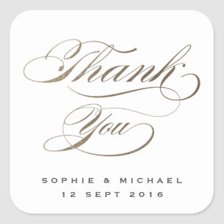 Gold faux foil calligraphy wedding thank you square sticker
