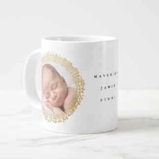 Gold faux foil confetti wreath newborn photo mug