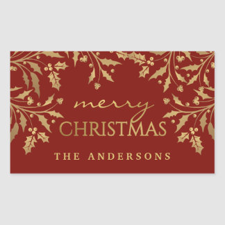 Gold Faux Foil Merry Christmas Holly Branches Rectangular Sticker