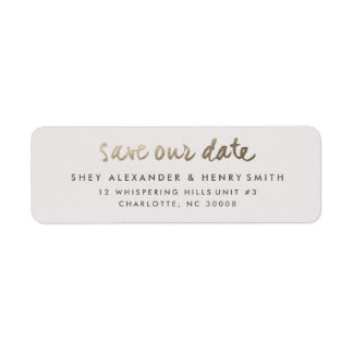 Gold faux foil save the date return address label