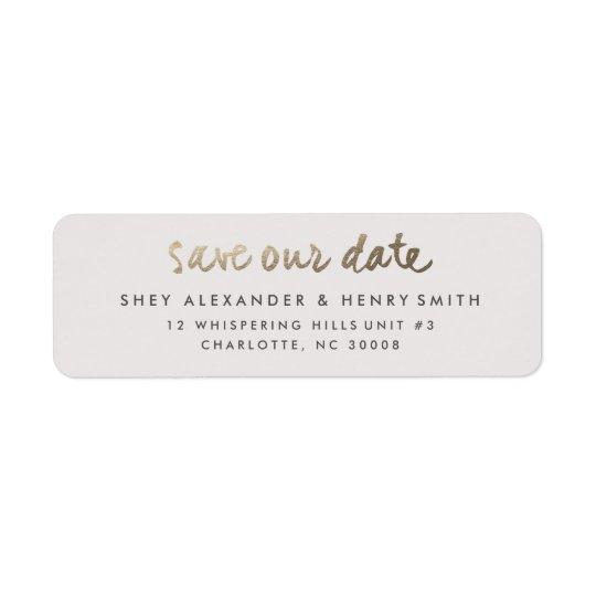 gold faux foil save the date return address label zazzle com