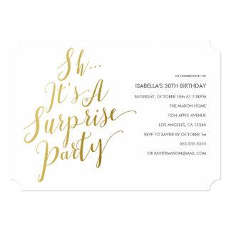 Gold Faux Foil Surprise Party Invitation