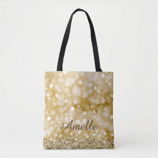 Gold Faux Glitter and Personalised Tote Bag