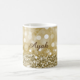 Gold Faux Glitter and Personalised White Mug