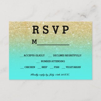 gold faux glitter aqua teal ombre RSVP wedding