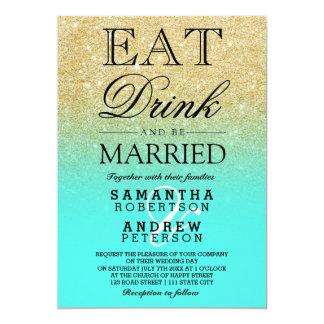 Gold faux glitter aqua teal ombre script wedding invitation