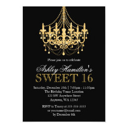 Gold Faux Glitter Chandelier Sweet 16 Invitations