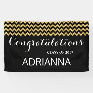 Gold Faux Glitter Chevron Congratulations Graduate Banner