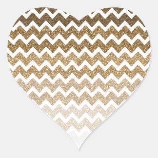 Gold Faux Glitter Chevron Ombre Heart Sticker