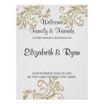 Gold Faux Glitter, Custom Wedding Welcome Poster