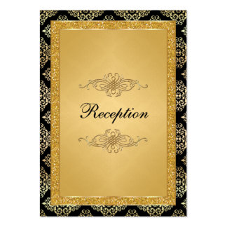 Gold FAUX Glitter Damask, Scrolls Enclosure Card Business Cards
