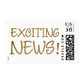 Gold Faux Glitter Exciting News Typography Postage