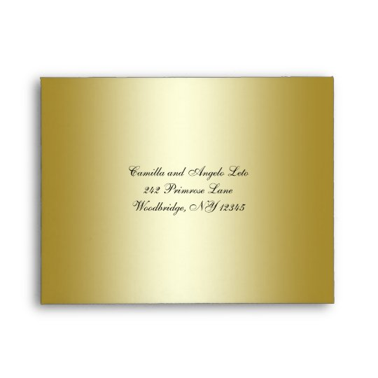 Gold FAUX Glitter Floral Envelope for Reply Card