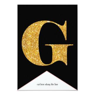 Gold Faux Glitter G Congrats Graduate Banner Card