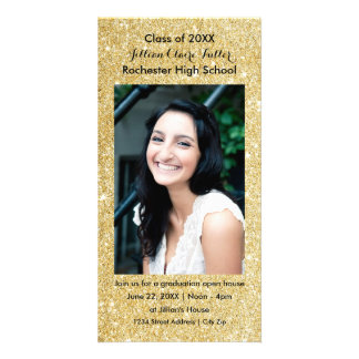 Gold Faux Glitter Graduation Photo Card