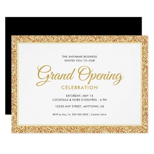 Gold Faux Glitter Grand Opening Invitation