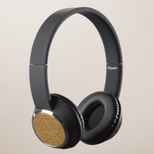 Gold Faux Glitter Headphones