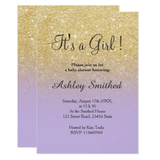 Gold faux glitter lavender ombre girl baby shower card