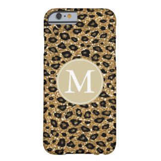Gold Faux Glitter Leopard Print Monogram Barely There iPhone 6 Case