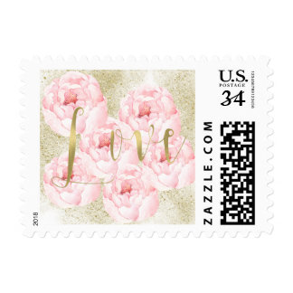 Gold Faux Glitter Love Pink Peonies Wedding Postage