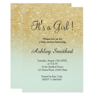Gold faux glitter mint ombre girl baby shower card