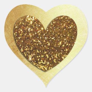 Gold Faux Glitter Modern Heart Shaped Sticker