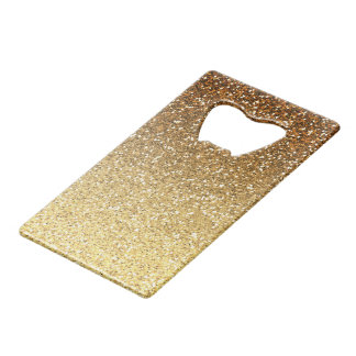 Gold Faux Glitter Ombre Credit Card Bottle Opener