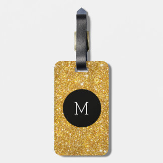 Gold Faux Glitter Pattern Girly Monogram Luggage Tag