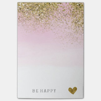 Gold Faux Glitter Pink Watercolor Personalized Post-it Notes