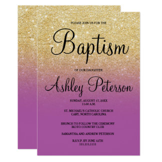Gold faux glitter purple orchid ombre baptism card