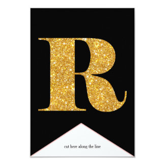 Gold Faux Glitter R Congrats Graduate Banner Card