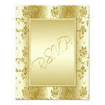Gold FAUX Glitter Reply Card Invitation