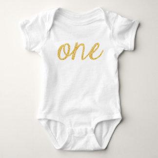 Gold Faux Glitter Script 1st Birthday Baby Bodysuit