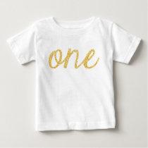 Gold Faux Glitter Script 1st Birthday Baby T-Shirt