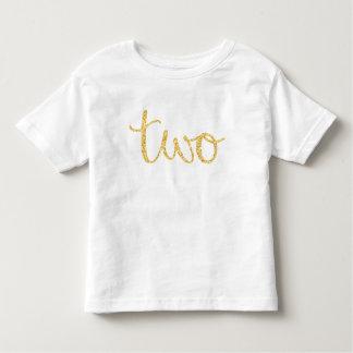 Gold Faux Glitter Script 2nd Birthday Toddler T-shirt