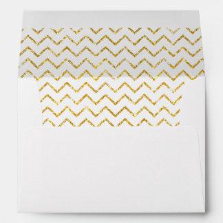 Gold Faux Glitter Shining Chevron Pattern Girly Envelope