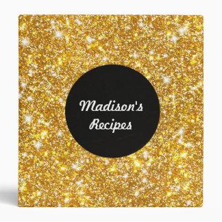 Gold Faux Glitter Shining Pattern Black Recipe Binder